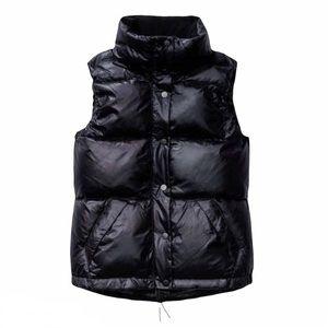 Aritzia Community Semper Puffer Vest Black Glossy Down-Filled Sz XXS